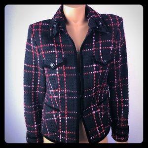 Jackets & Blazers - Black and red tweed jacket blazer velvet trim Sz42